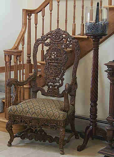carved oak chair from Bavaria