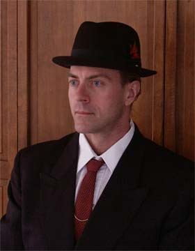 red tie, black hat